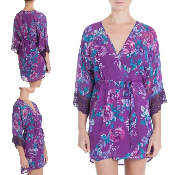 329cc73a9cb90 In Bloom by Jonquil Short Floral Roses Wrap Robe NWT